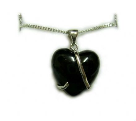 Black Onyx Pendant Heart Wrap, 18 inch chain, Sterling Silver